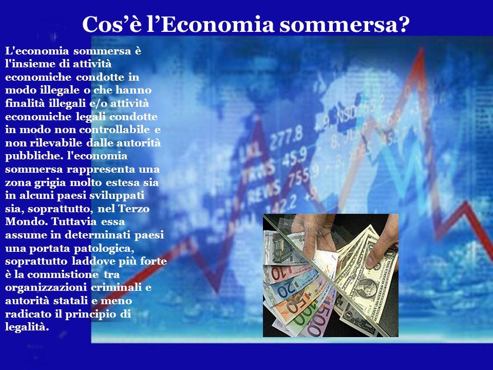 Cosè lEconomia sommersa? L'economia sommersa è l'insieme di attività economiche condotte in modo illegale o che hanno finalità illegali e/o attività e