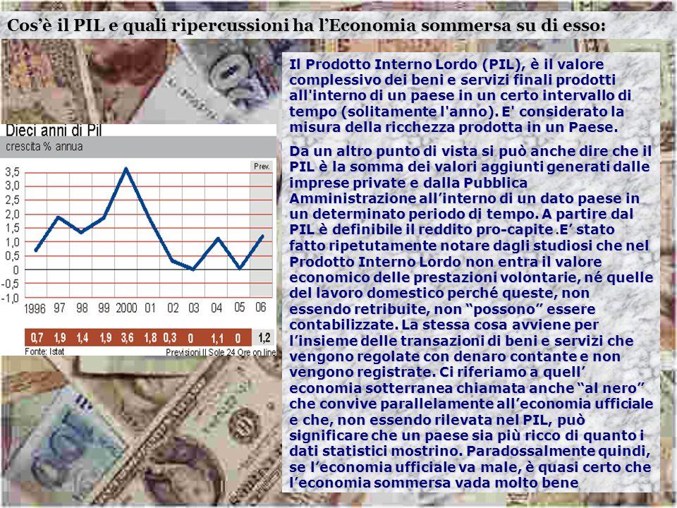 Cosè il PIL e quali ripercussioni ha lEconomia sommersa su di esso: Il Prodotto Interno Lordo (PIL), è il valore complessivo dei beni e servizi finali