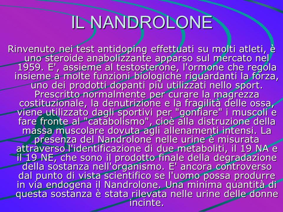 IL NANDROLONE Rinvenuto nei test antidoping effettuati su molti atleti, è uno steroide anabolizzante apparso sul mercato nel 1959. E', assieme al test