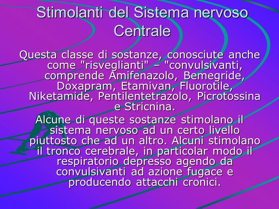 Stimolanti del Sistema nervoso Centrale Questa classe di sostanze, conosciute anche come