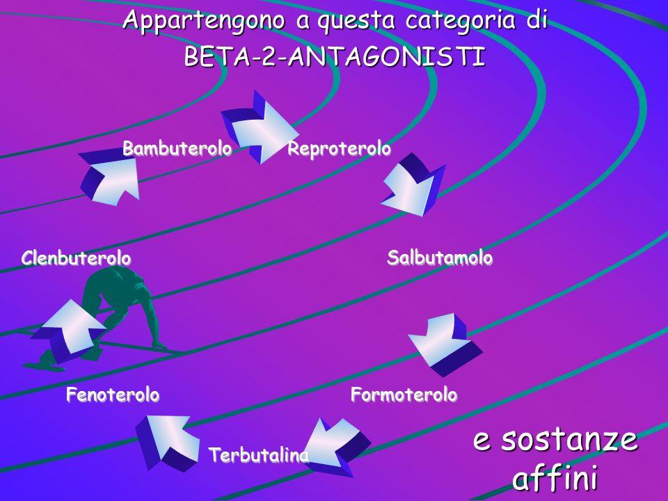 Appartengono a questa categoria di BETA-2-ANTAGONISTI e sostanze affini Reproterolo Salbutamolo Formoterolo Terbutalina Fenoterolo Clenbuterolo Bambut