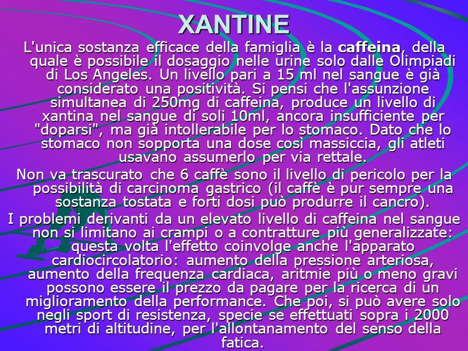 XANTINE L'unica sostanza efficace della famiglia è la caffeina, della quale è possibile il dosaggio nelle urine solo dalle Olimpiadi di Los Angeles. U