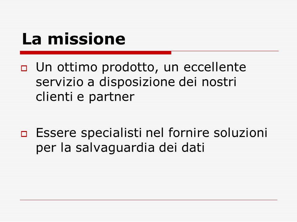 La missione Un ottimo prodotto, un eccellente servizio a disposizione dei nostri clienti e partner Essere specialisti nel fornire soluzioni per la salvaguardia dei dati
