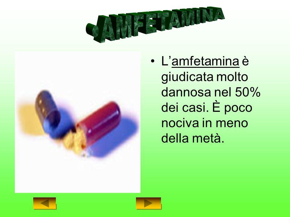 Lamfetamina è giudicata molto dannosa nel 50% dei casi. È poco nociva in meno della metà.