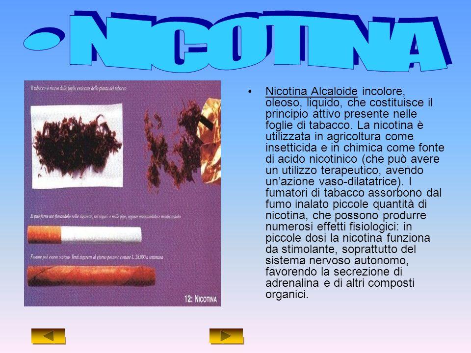 Nicotina Alcaloide incolore, oleoso, liquido, che costituisce il principio attivo presente nelle foglie di tabacco.