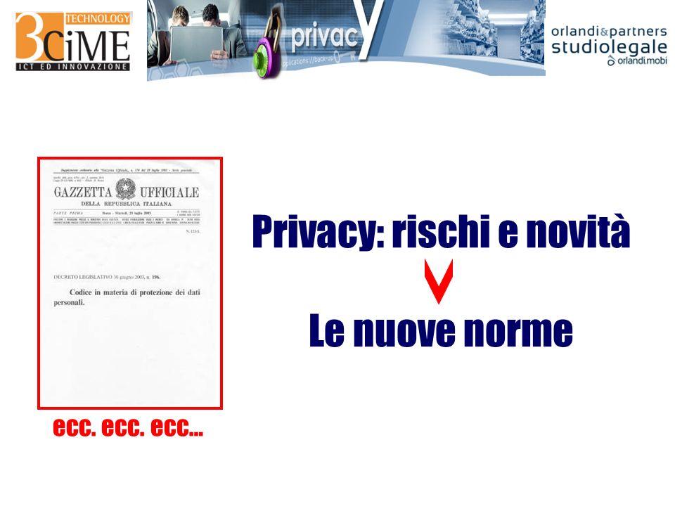 Privacy: rischi e novità Le nuove norme ecc. ecc. ecc…