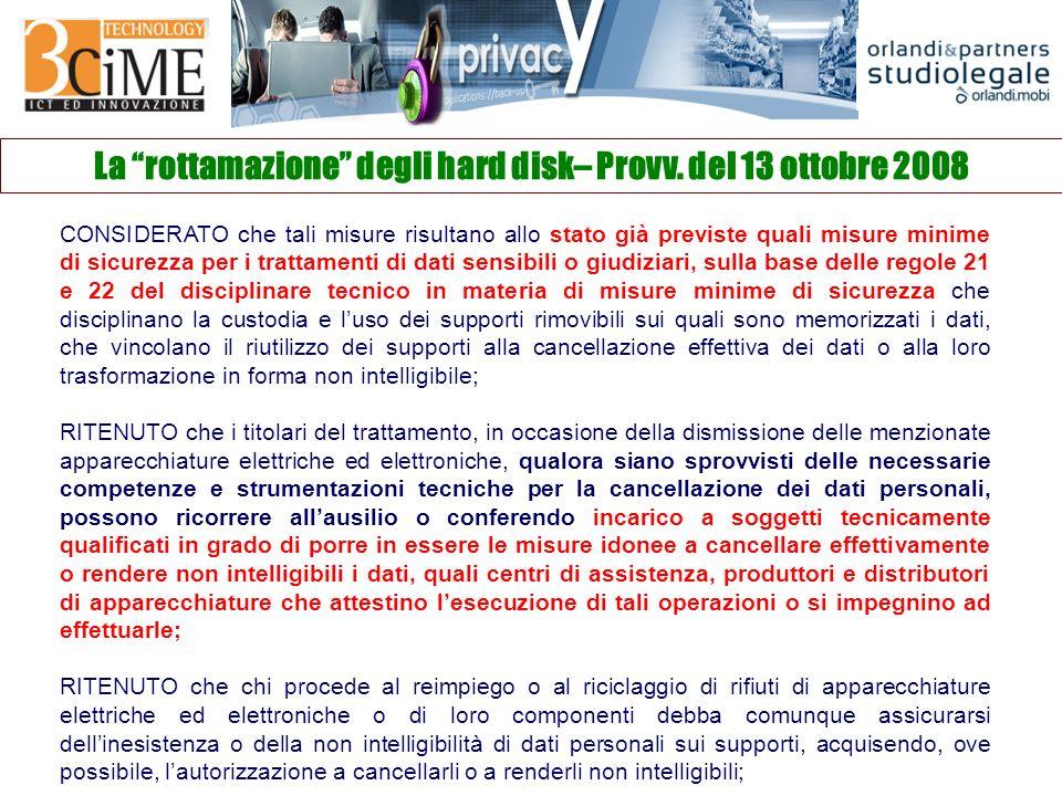 La rottamazione degli hard disk– Provv.