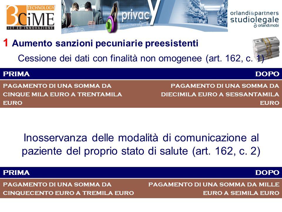 1 Aumento sanzioni pecuniarie preesistenti Cessione dei dati con finalità non omogenee (art.
