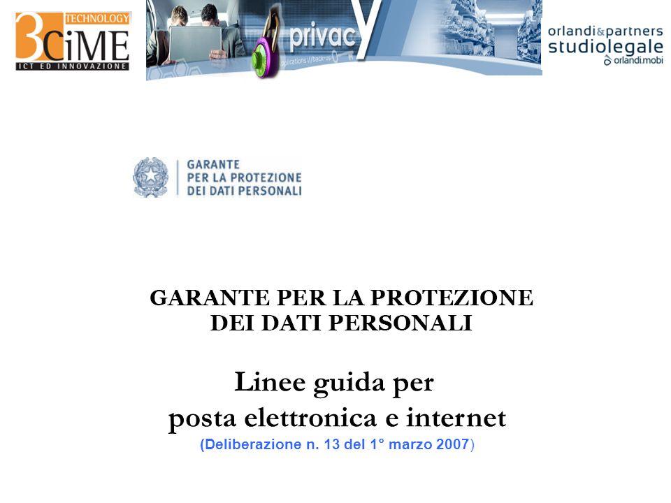 Linee guida per posta elettronica e internet (Deliberazione n. 13 del 1° marzo 2007)