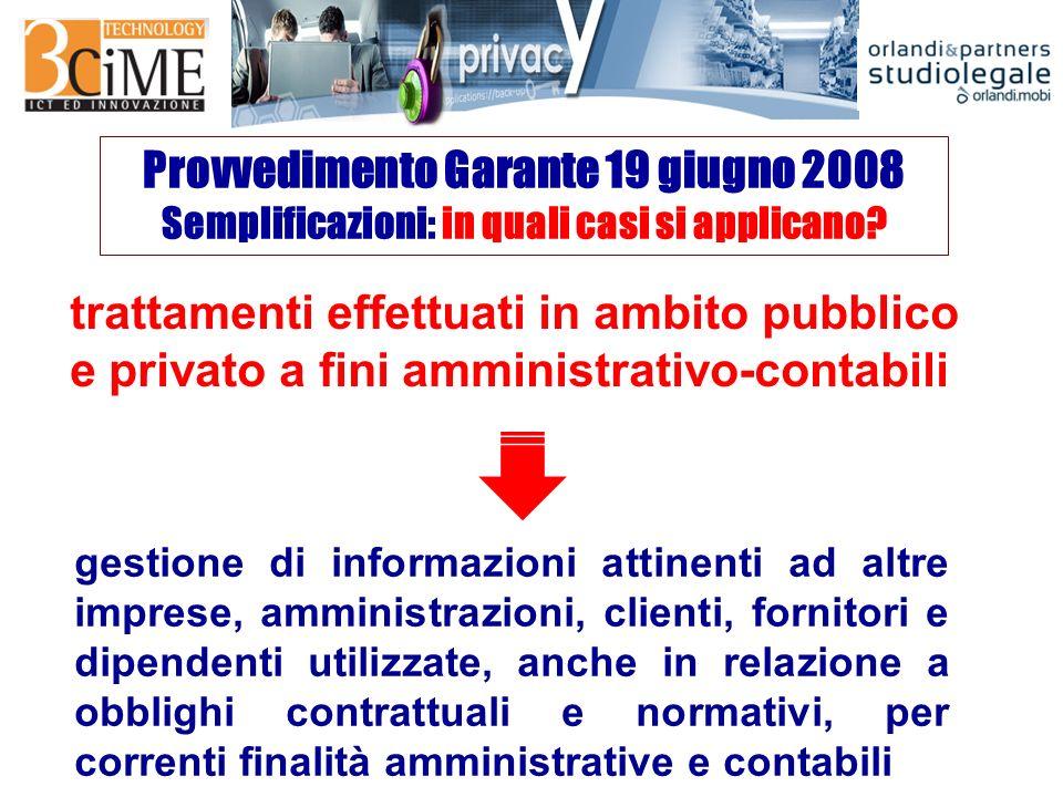 Provvedimento Garante 19 giugno 2008 Semplificazioni: in quali casi si applicano.