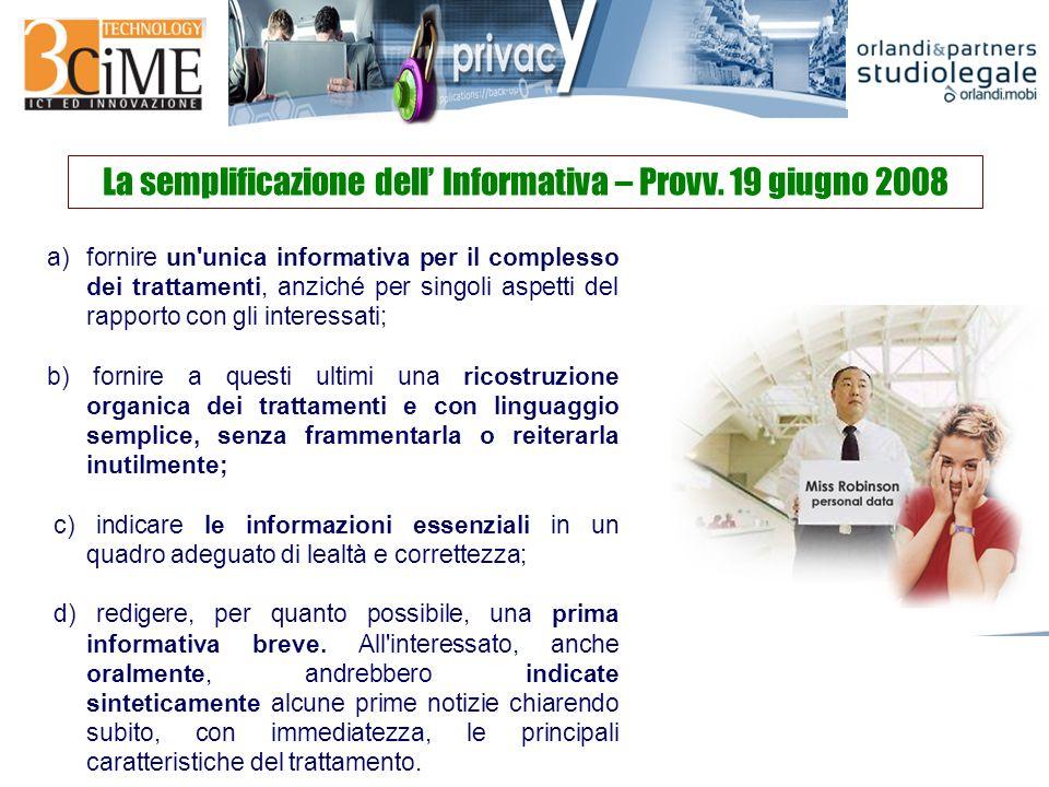 La semplificazione dell Informativa – Provv.