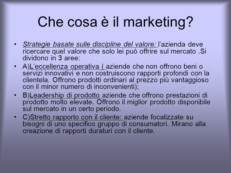 Che cosa è il marketing.Su che basi viene scelta la strategia.