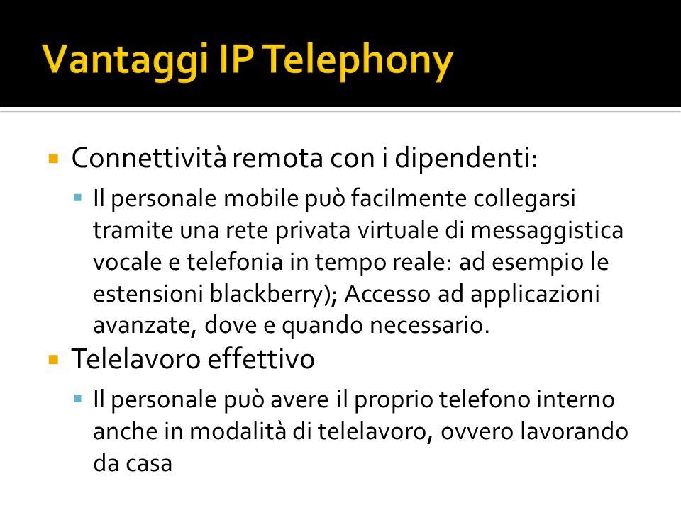 Connettività remota con i dipendenti: Il personale mobile può facilmente collegarsi tramite una rete privata virtuale di messaggistica vocale e telefonia in tempo reale: ad esempio le estensioni blackberry); Accesso ad applicazioni avanzate, dove e quando necessario.