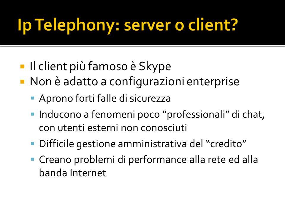 Il client più famoso è Skype Non è adatto a configurazioni enterprise Aprono forti falle di sicurezza Inducono a fenomeni poco professionali di chat, con utenti esterni non conosciuti Difficile gestione amministrativa del credito Creano problemi di performance alla rete ed alla banda Internet