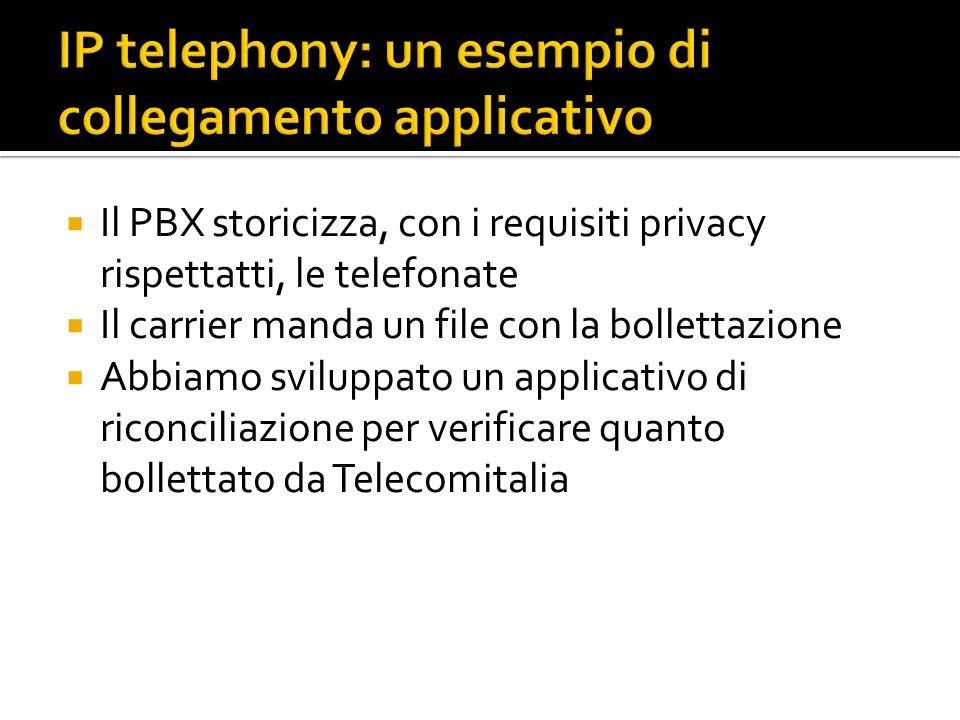 Il PBX storicizza, con i requisiti privacy rispettatti, le telefonate Il carrier manda un file con la bollettazione Abbiamo sviluppato un applicativo di riconciliazione per verificare quanto bollettato da Telecomitalia