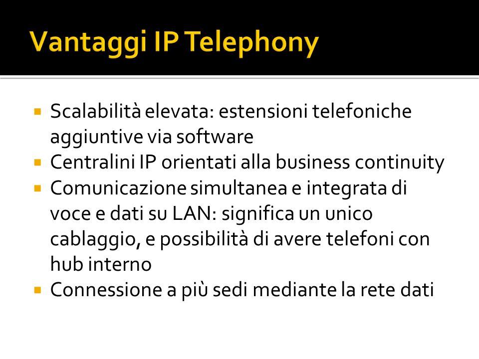 Scalabilità elevata: estensioni telefoniche aggiuntive via software Centralini IP orientati alla business continuity Comunicazione simultanea e integrata di voce e dati su LAN: significa un unico cablaggio, e possibilità di avere telefoni con hub interno Connessione a più sedi mediante la rete dati
