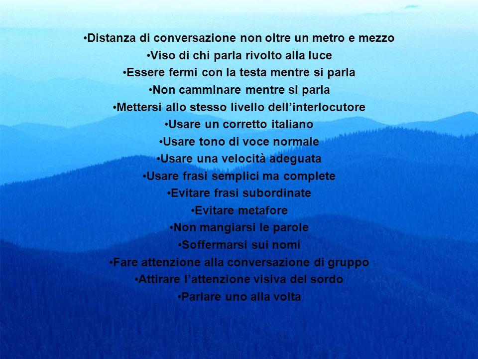 19 Distanza di conversazione non oltre un metro e mezzo Viso di chi parla rivolto alla luce Essere fermi con la testa mentre si parla Non camminare me