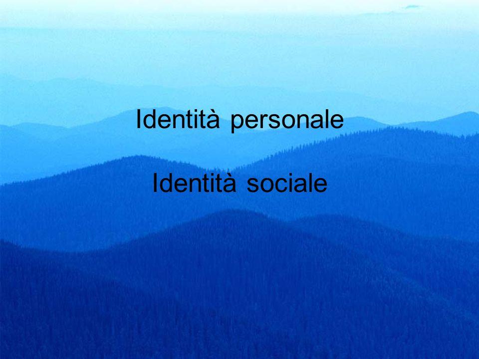 23 Identità personale Identità sociale