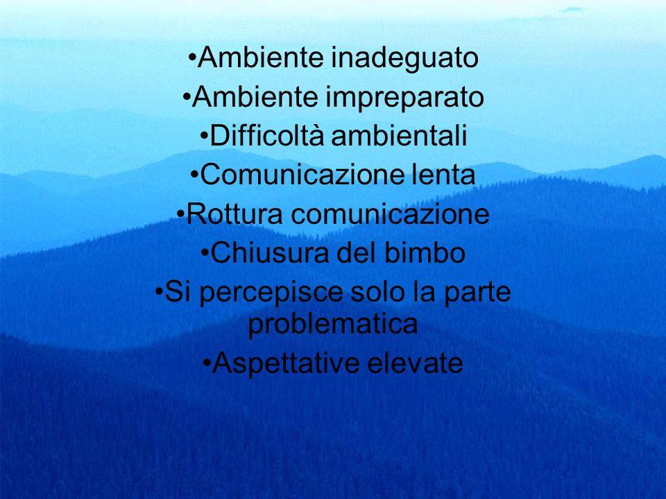 30 Ambiente inadeguato Ambiente impreparato Difficoltà ambientali Comunicazione lenta Rottura comunicazione Chiusura del bimbo Si percepisce solo la p