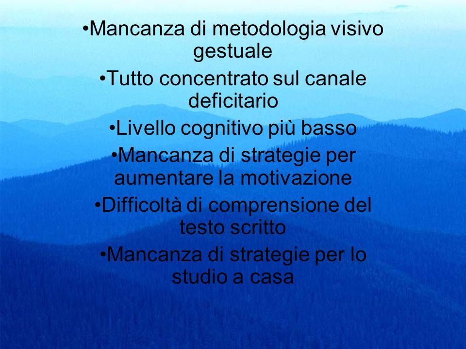 60 Mancanza di metodologia visivo gestuale Tutto concentrato sul canale deficitario Livello cognitivo più basso Mancanza di strategie per aumentare la