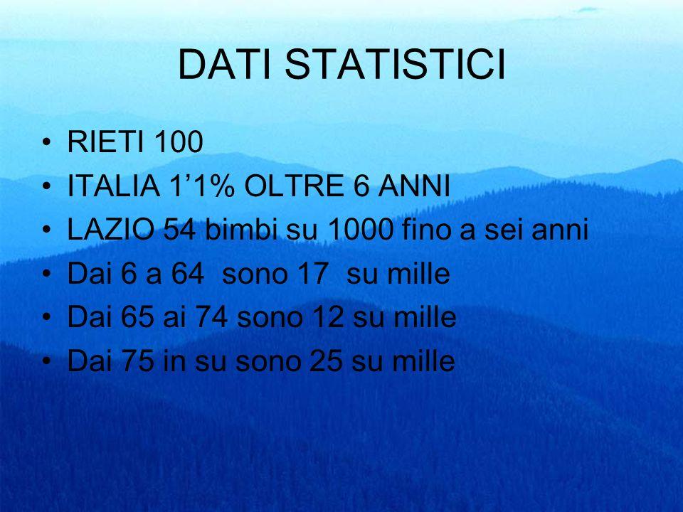 67 DATI STATISTICI RIETI 100 ITALIA 11% OLTRE 6 ANNI LAZIO 54 bimbi su 1000 fino a sei anni Dai 6 a 64 sono 17 su mille Dai 65 ai 74 sono 12 su mille
