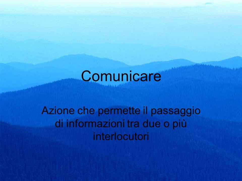 8 Comunicare Azione che permette il passaggio di informazioni tra due o più interlocutori