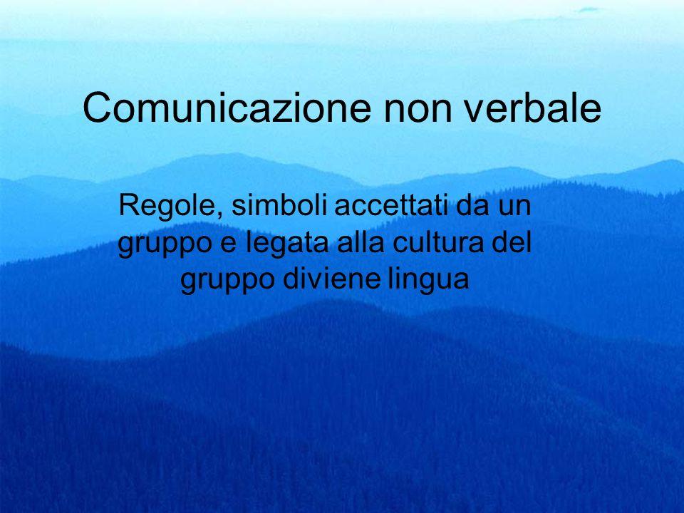 9 Comunicazione non verbale Regole, simboli accettati da un gruppo e legata alla cultura del gruppo diviene lingua