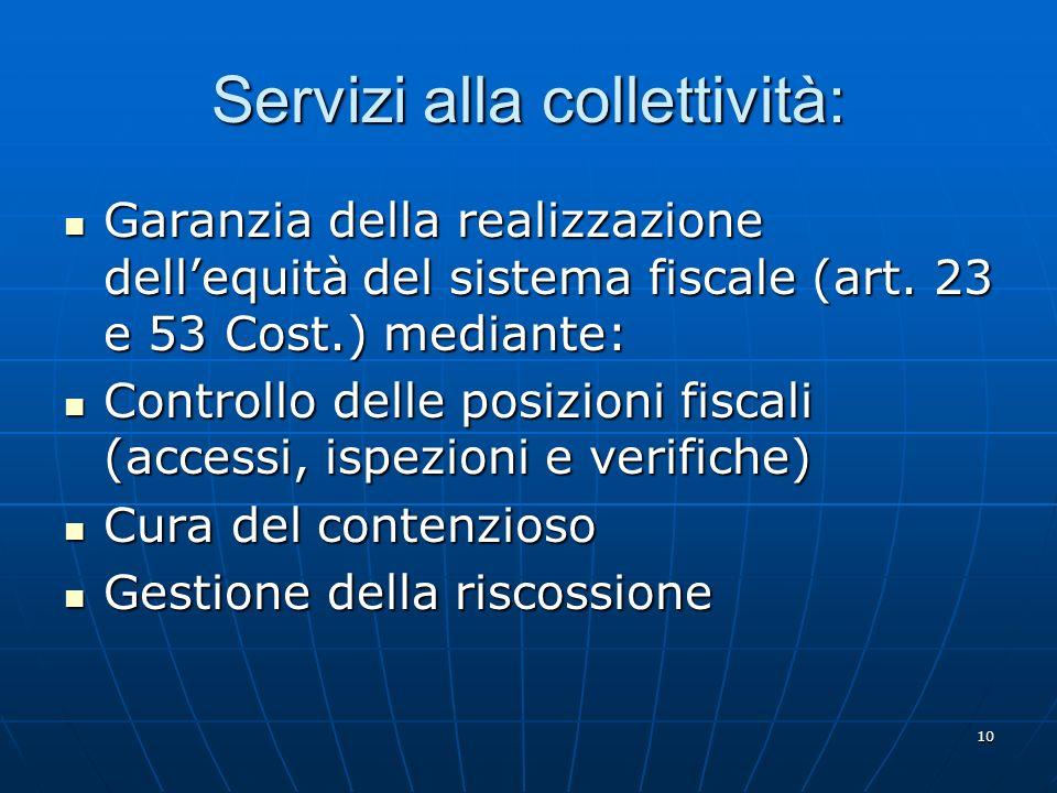 10 Servizi alla collettività: Garanzia della realizzazione dellequità del sistema fiscale (art.