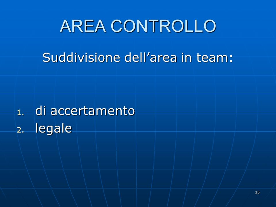 15 AREA CONTROLLO Suddivisione dellarea in team: 1. di accertamento 2. legale