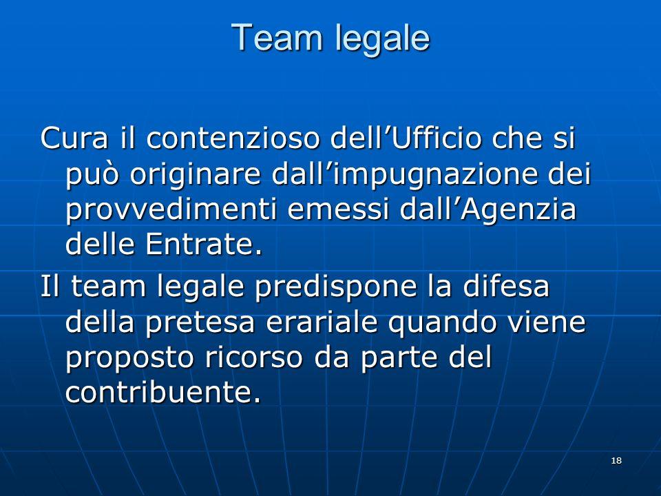 18 Team legale Cura il contenzioso dellUfficio che si può originare dallimpugnazione dei provvedimenti emessi dallAgenzia delle Entrate.