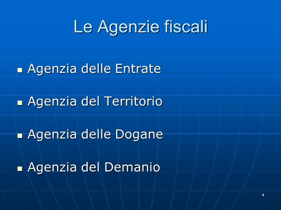 4 Le Agenzie fiscali Agenzia delle Entrate Agenzia delle Entrate Agenzia del Territorio Agenzia del Territorio Agenzia delle Dogane Agenzia delle Dogane Agenzia del Demanio Agenzia del Demanio