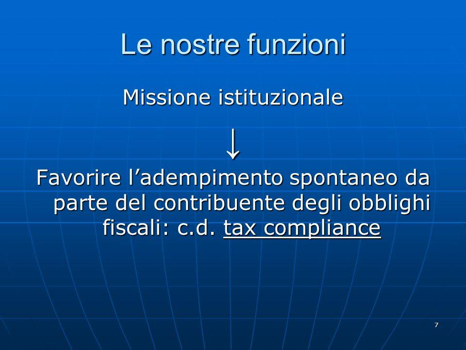 7 Le nostre funzioni Missione istituzionale Favorire ladempimento spontaneo da parte del contribuente degli obblighi fiscali: c.d.