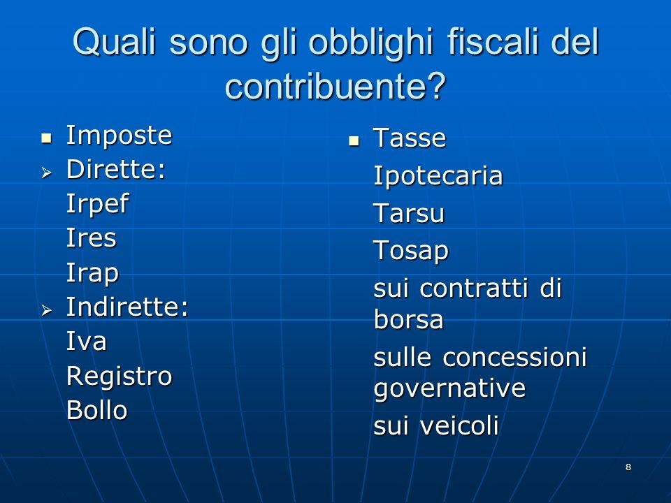 8 Quali sono gli obblighi fiscali del contribuente.