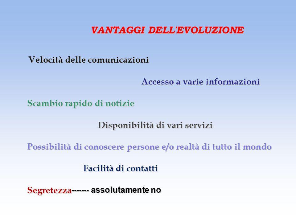 1 EVOLUZIONE DELLE COMUNICAZIONI Messaggero Telegrafo Telefono Televisione Internet Comunicazioni satellitari :