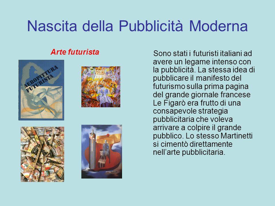 Nascita della Pubblicità Moderna Arte futurista Sono stati i futuristi italiani ad avere un legame intenso con la pubblicità. La stessa idea di pubbli