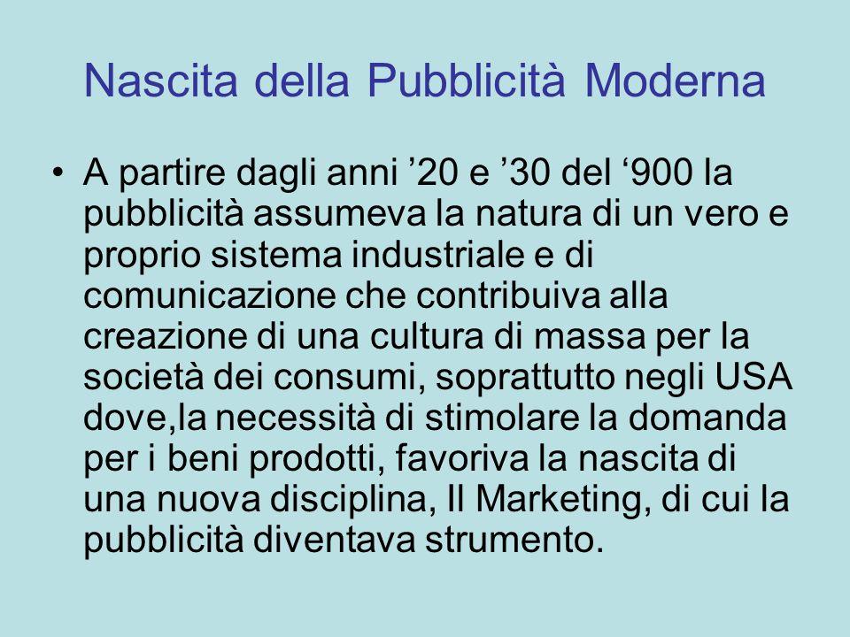 Nascita della Pubblicità Moderna A partire dagli anni 20 e 30 del 900 la pubblicità assumeva la natura di un vero e proprio sistema industriale e di c