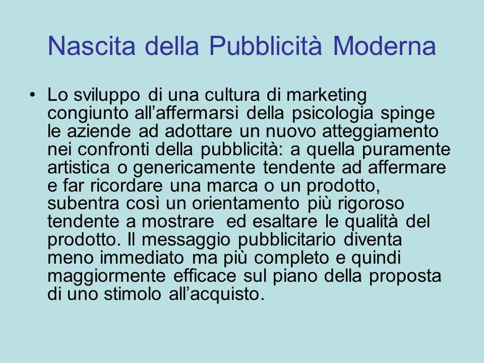 Nascita della Pubblicità Moderna Lo sviluppo di una cultura di marketing congiunto allaffermarsi della psicologia spinge le aziende ad adottare un nuo