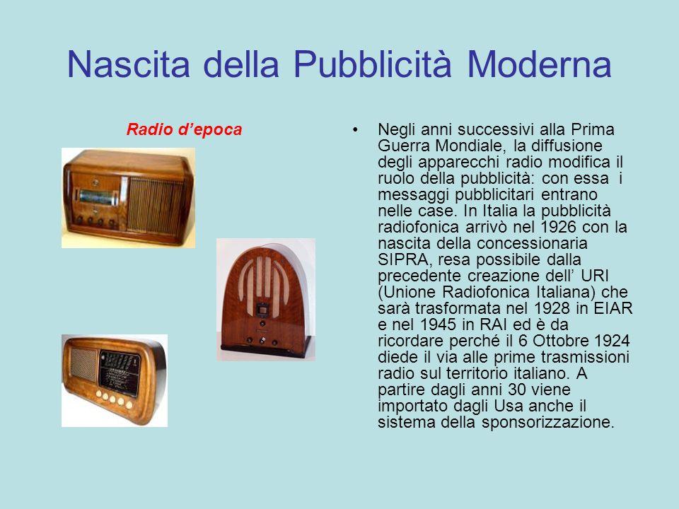 Nascita della Pubblicità Moderna Radio depocaNegli anni successivi alla Prima Guerra Mondiale, la diffusione degli apparecchi radio modifica il ruolo