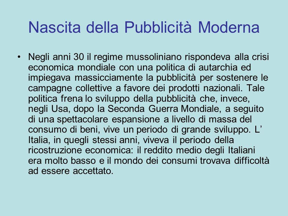 Nascita della Pubblicità Moderna Negli anni 30 il regime mussoliniano rispondeva alla crisi economica mondiale con una politica di autarchia ed impieg