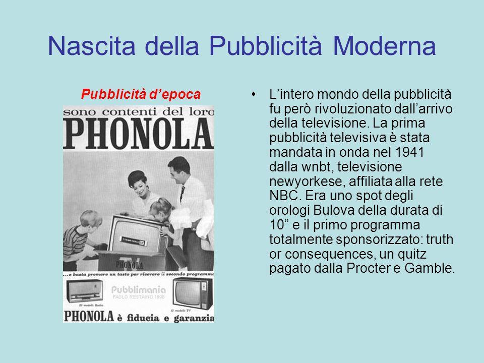 Nascita della Pubblicità Moderna Pubblicità depocaLintero mondo della pubblicità fu però rivoluzionato dallarrivo della televisione. La prima pubblici