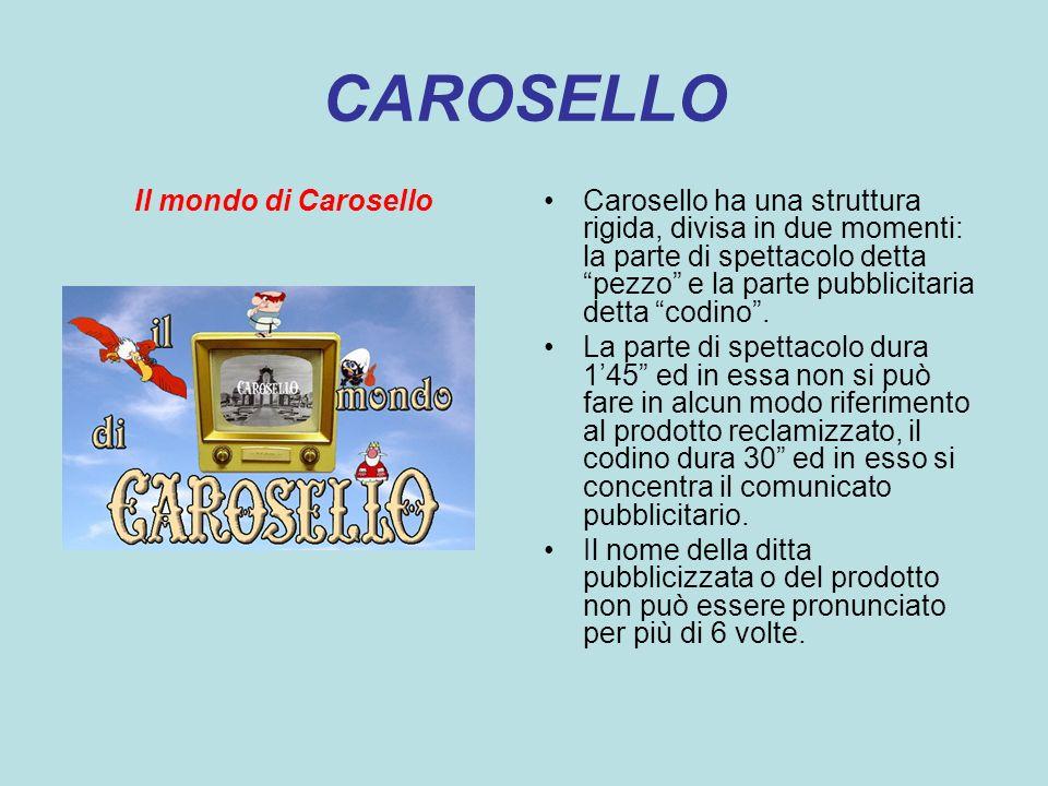 Il mondo di CaroselloCarosello ha una struttura rigida, divisa in due momenti: la parte di spettacolo detta pezzo e la parte pubblicitaria detta codin