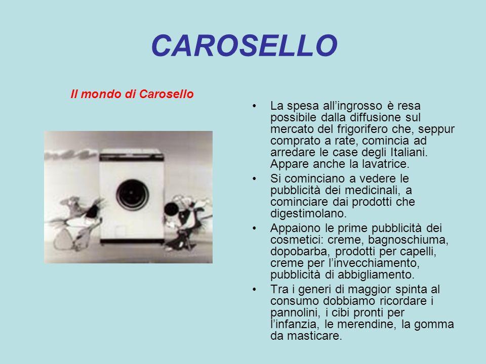 CAROSELLO Il mondo di Carosello La spesa allingrosso è resa possibile dalla diffusione sul mercato del frigorifero che, seppur comprato a rate, cominc