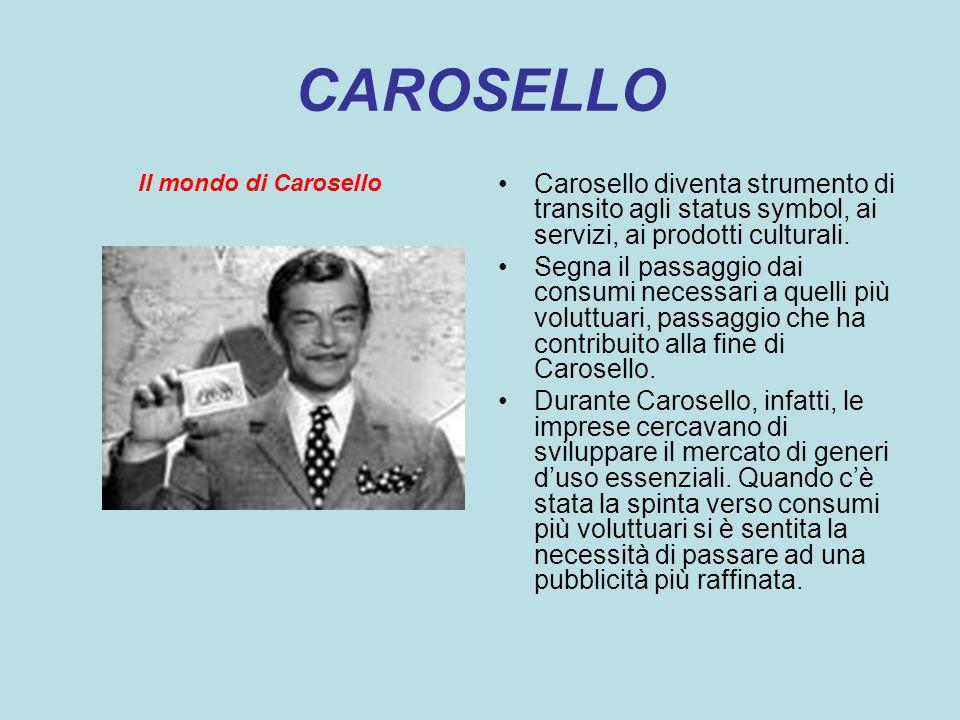 CAROSELLO Il mondo di Carosello Carosello diventa strumento di transito agli status symbol, ai servizi, ai prodotti culturali. Segna il passaggio dai