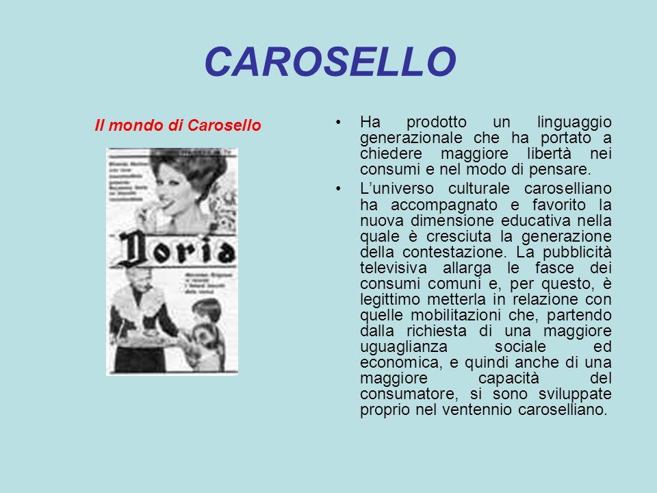 CAROSELLO Il mondo di Carosello Ha prodotto un linguaggio generazionale che ha portato a chiedere maggiore libertà nei consumi e nel modo di pensare.