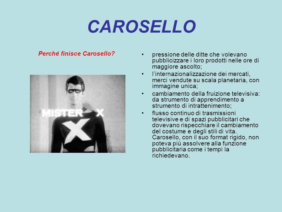 CAROSELLO Perché finisce Carosello? pressione delle ditte che volevano pubblicizzare i loro prodotti nelle ore di maggiore ascolto; linternazionalizza