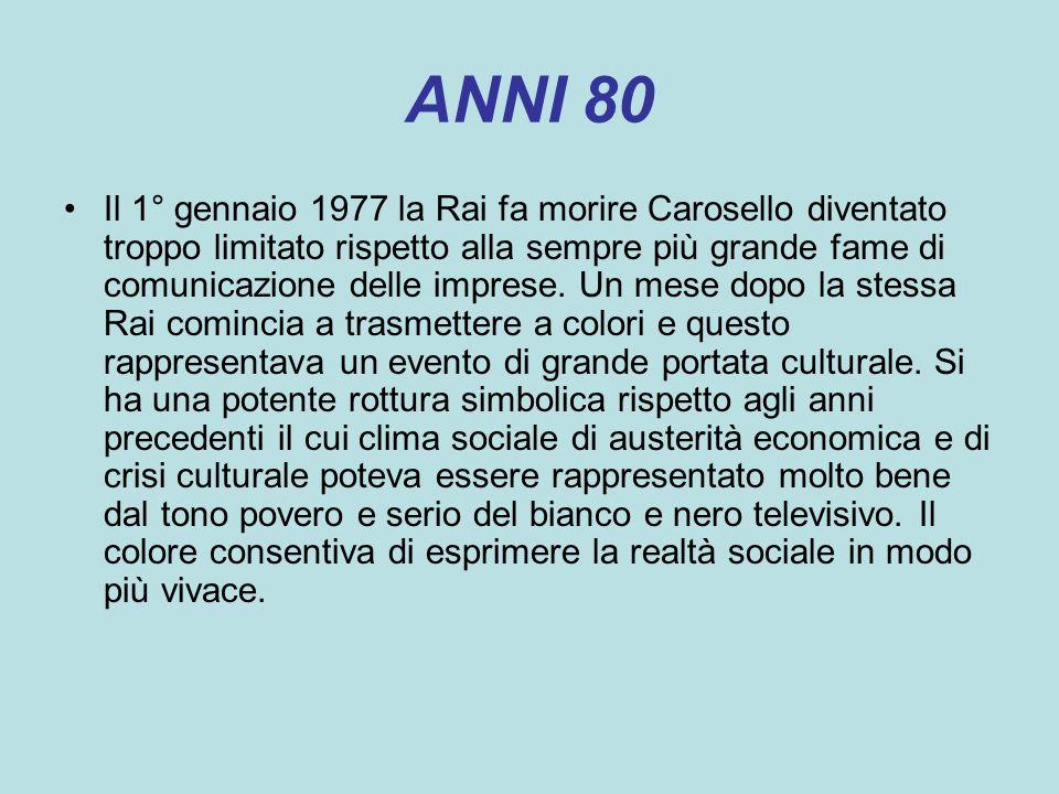 ANNI 80 Il 1° gennaio 1977 la Rai fa morire Carosello diventato troppo limitato rispetto alla sempre più grande fame di comunicazione delle imprese. U