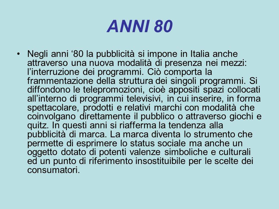ANNI 80 Negli anni 80 la pubblicità si impone in Italia anche attraverso una nuova modalità di presenza nei mezzi: linterruzione dei programmi. Ciò co