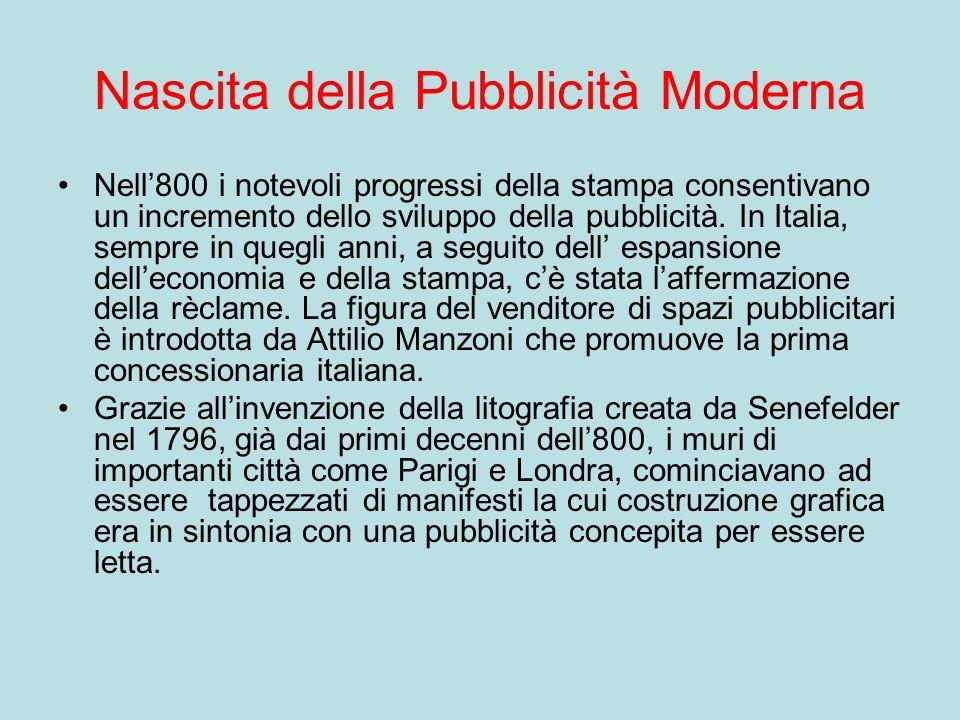 Nascita della Pubblicità Moderna Nell800 i notevoli progressi della stampa consentivano un incremento dello sviluppo della pubblicità. In Italia, semp