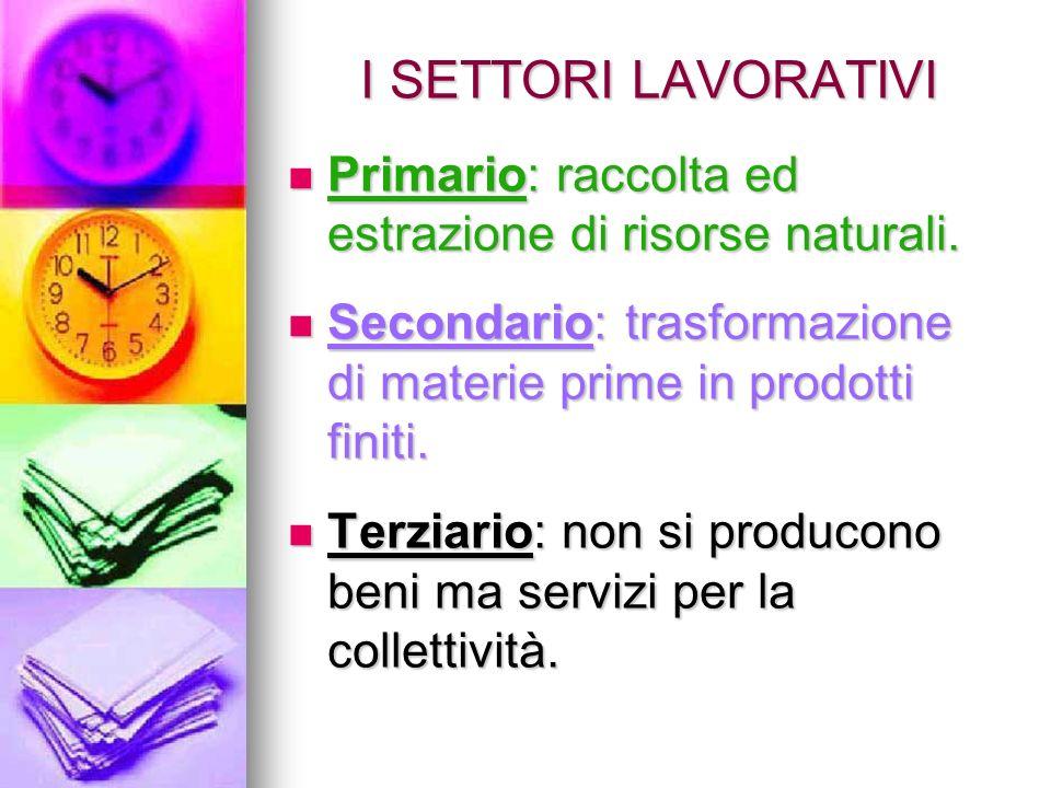 I SETTORI LAVORATIVI Primario: raccolta ed estrazione di risorse naturali. Primario: raccolta ed estrazione di risorse naturali. Secondario: trasforma