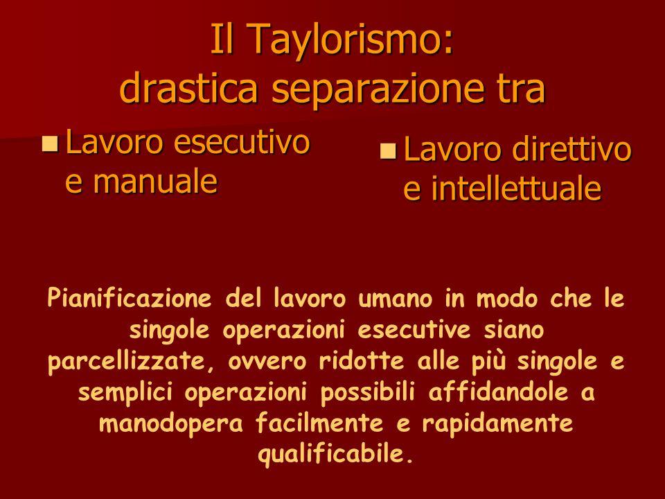 Il Taylorismo: drastica separazione tra Lavoro esecutivo e manuale Lavoro esecutivo e manuale Lavoro direttivo e intellettuale Lavoro direttivo e inte